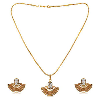 Kriaa Gold Plated Brown Austrian Stone Pendant Set - 1202327B