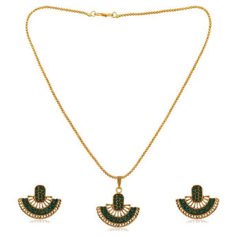 Kriaa Green Austrian Stone Gold Plated Pendant Set - 1202327C
