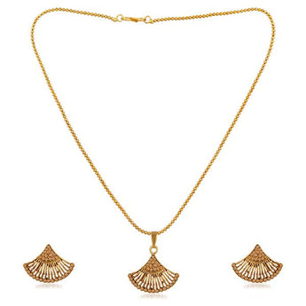 Kriaa Gold Plated Brown Austrian Stone Pendant Set - 1202328G
