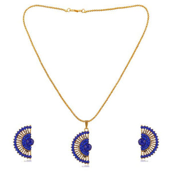 Kriaa Gold Plated Blue Austrian Stone Pendant Set - 1202329A