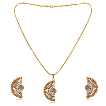 Kriaa Brown Austrian Stone Gold Plated Pendant Set - 1202329D