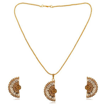 Kriaa Gold Plated Brown Austrian Stone Pendant Set - 1202329G