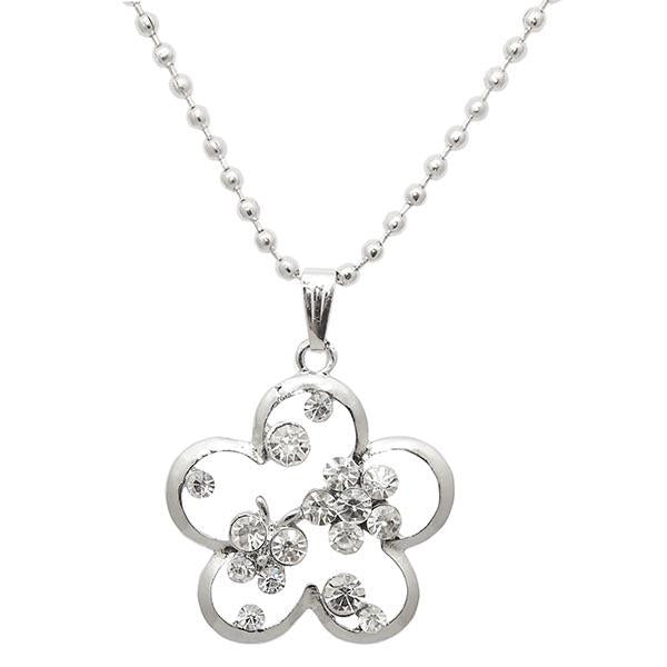 Kriaa Floral Design Rhodium Plated Chain Pendant