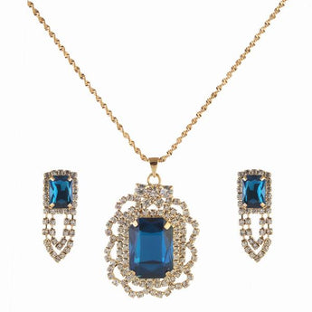 Kriaa Blue Austrian Stone Gold Plated Pendant Set - 1202916