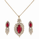 Kriaa Red Austrian Stone Gold Plated Chain Pendant