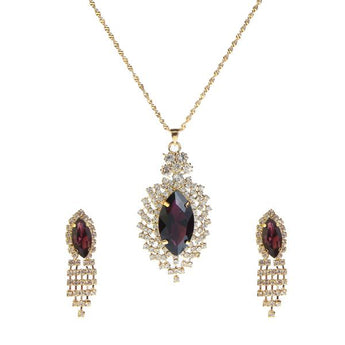 Kriaa Purple Austrian Stone Gold Plated Pendant Set - 1202921