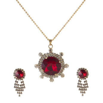 Kriaa Red Austrian Stone Gold Plated Pendant Set - 1202927