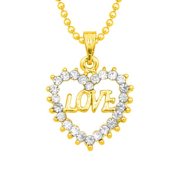14Fashions Austrian Stone Heart Shaped Love Chain Pendant - 1203128B