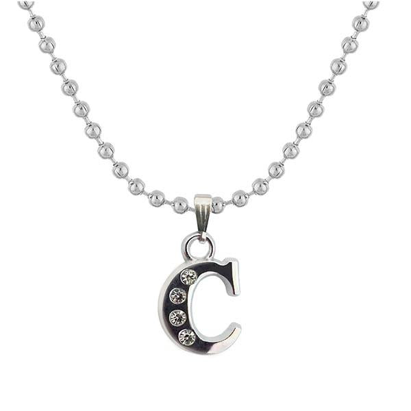 "Regina Rhodium Plated "" C "" Alphabet Chain Pendant"