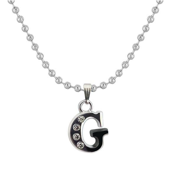 "Regina Rhodium Plated "" G "" Alphabet Chain Pendant"