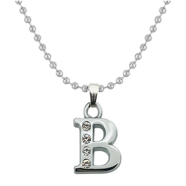 "Regina Rhodium Plated "" B "" Alphabet Chain Pendant"