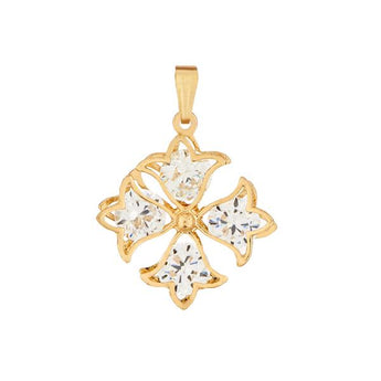 Tip Top Fashions Gold Plated Cubic Zirconia Stone Pendant - 1203501