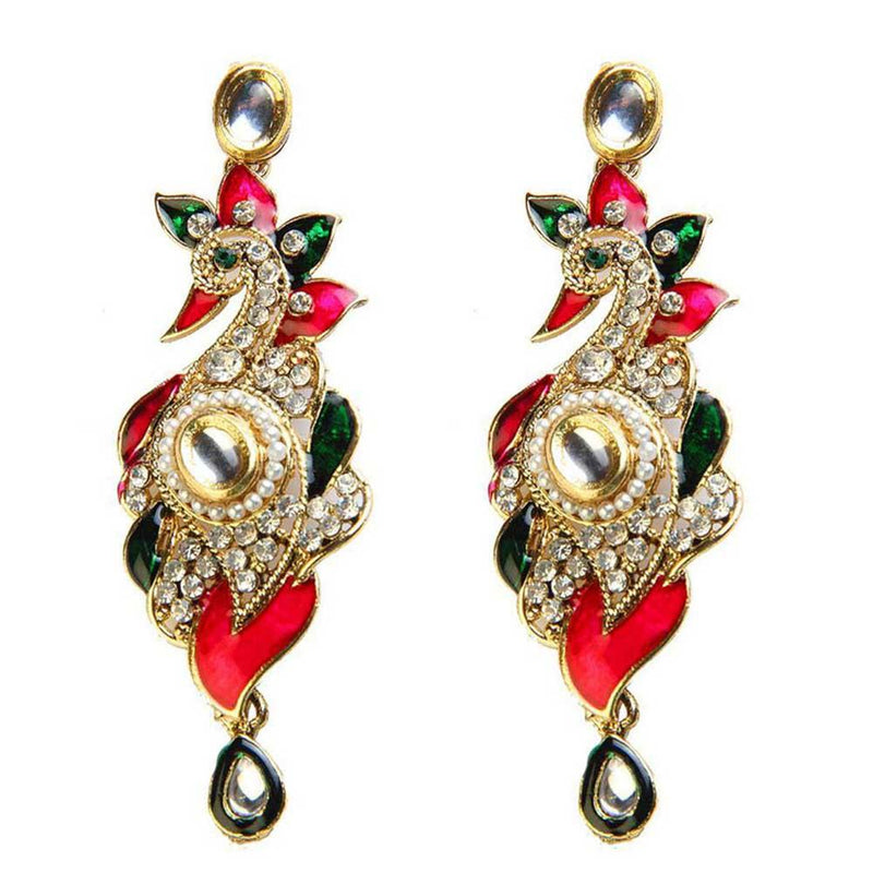 Kriaa Meenakari Pearl Gold Plated Stone Peacock Earrings