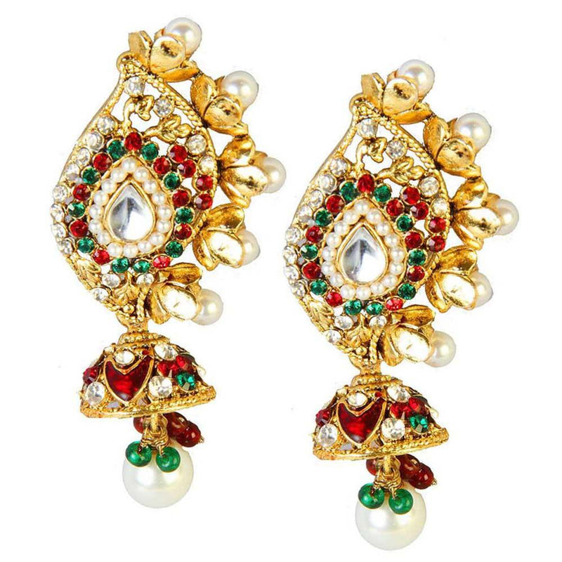 Kriaa Kundan Gold Plated Austrian Stone Dangle Earrings