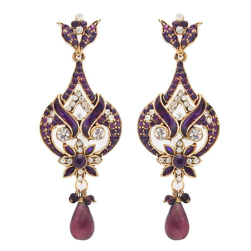 Kriaa Gold Plated Stone Meenakari Dangler Earrings