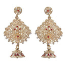Kriaa Gold Plated Kundan Red Stone Jhumki Earrings