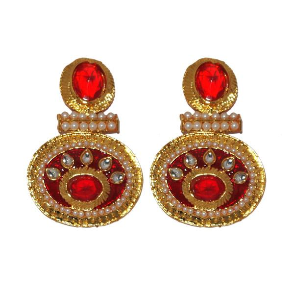 Kriaa Austrian Stone Gold Plated Meenakari Dangler Earrings - 1303134