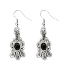 Urthn Silver Plated Black Pota Stone Dangler Earrings
