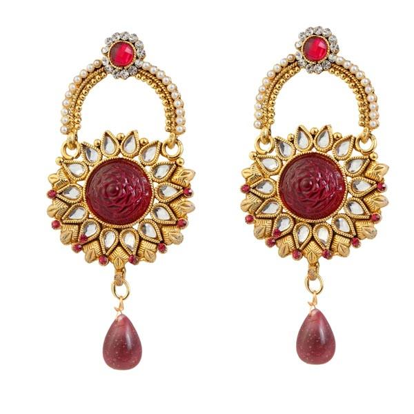 Kriaa Kundan Red Austrian Stone Gold Plated Dangler Earrings - 1303774