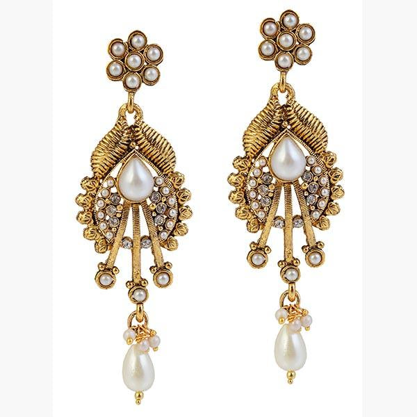 14Fashions Pearl Antique Gold Plated  Dangler Earrings - 1304930