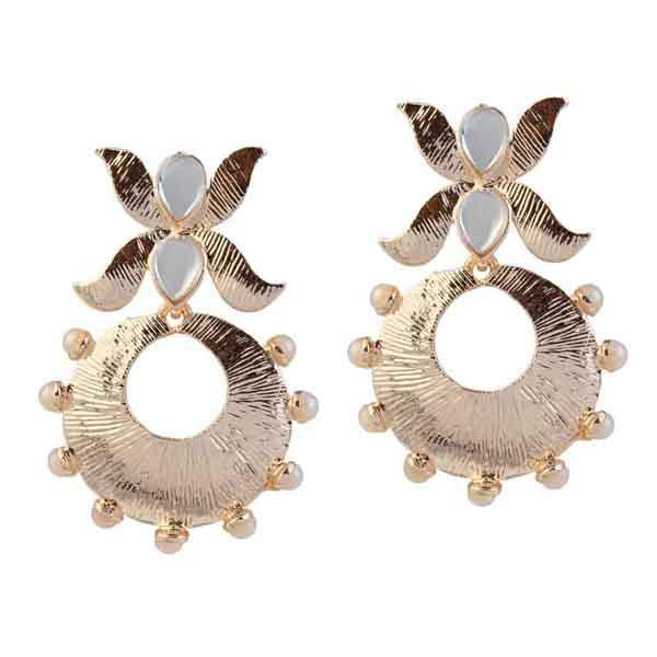 Tip Top Fashions Kundan Pearl Gold Plated Dangler Earrings - 1305014