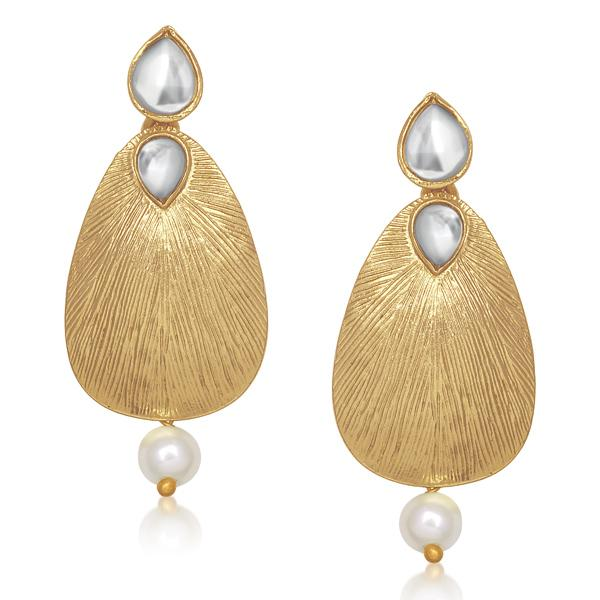 Aurum Kundan Pearl Drop Gold Plated Dangler Earrings - 1305034