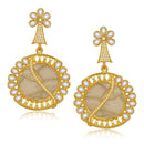 Kriaa Resin Pearl Stone Gold Plated Dangler Earrings