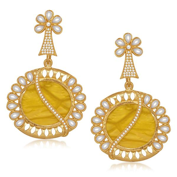 Kriaa Gold Plated Pearl Resin Dangler Earrings