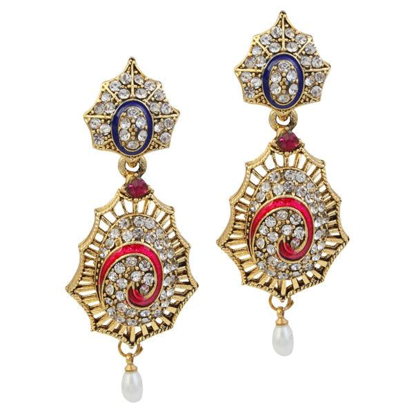 Kriaa Stone Meenakari Pearl Gold Plated Dangler Earrings - 1305202