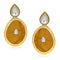 Kriaa Kundan Gold Plated Brown Dangler Earrings