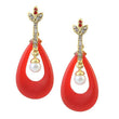 Kriaa Red Austrian Stone Gold Plated Dangler Earrings - 1305722