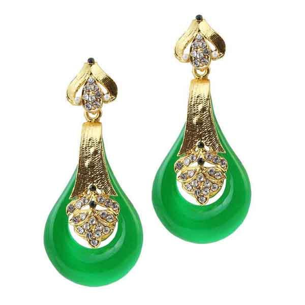 Kriaa Gold Plated Green Stone Dangler Earrings - 1305732