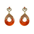 Kriaa Orange Stone Gold Plated Dangler Earrings - 1305744