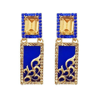 Kriaa  Blue Austrian Stone Gold Plated Dangler Earrings - 1305745B
