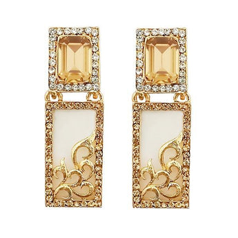 Kriaa  Austrian Stone Gold Plated Dangler Earrings - 1305745G