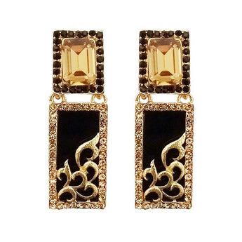 Kriaa  Black Austrian Stone Gold Plated Dangler Earrings - 1305745D