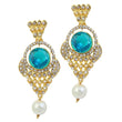 Kriaa Blue Stone Gold Plated Dangler Earrings - 1305902