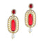 Kriaa Stone Pearl Drop Gold Plated Dangler Earrings