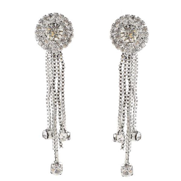 Tip Top Fashions Austrian Stone Rhodium Plated Dangler Earrings - 1306107