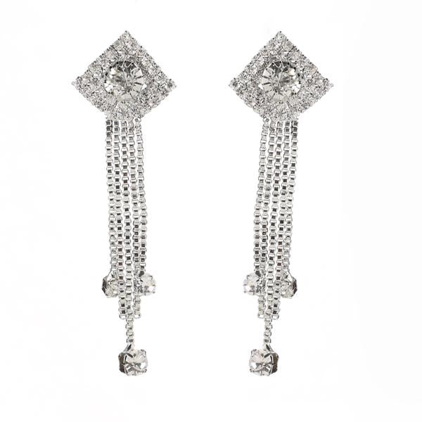Eugenia Silver Plated Austrian Stone Dangle Earrings