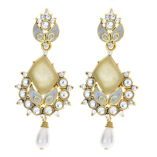 Kriaa Kundan Pearl Drop Gold Plated Dangler Earrings - 1306226