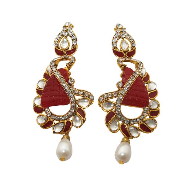 Kriaa Gold Plated Meenakari Stone Dangler Earrings - 1306302