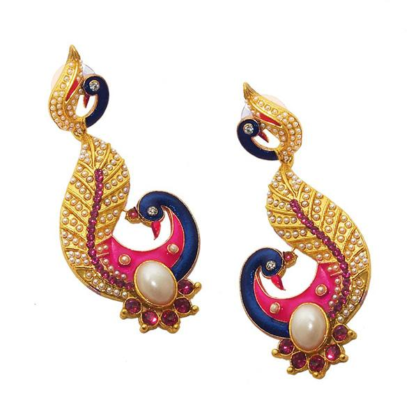 Kriaa Blue Meenakari Pearl Gold Plated Peacock Earrings