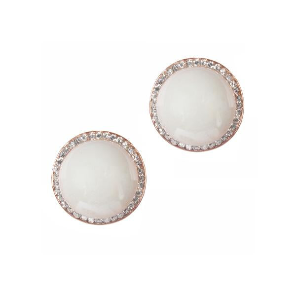 Urbana Glass Pearl  Rose Gold Plated Stud Earrings - 1306805
