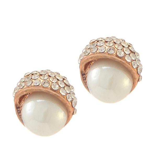 Urbana Rose Gold Plated  Glass Pearl Stud Earrings - 1306807