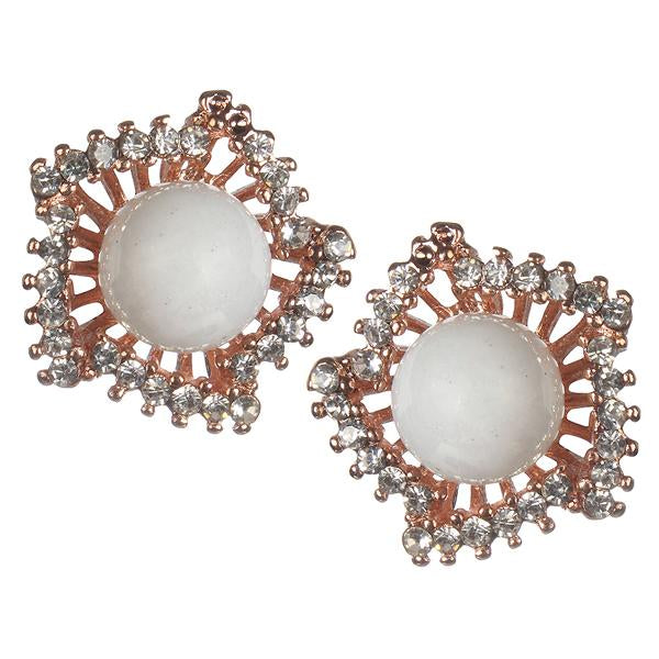 Urbana Pearl Austrian Stone Rose Gold Plated Stud Earrings - 1306814