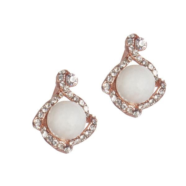 Urbana Pearl Austrian Stone Rose Gold Plated Stud Earrings - 1306819