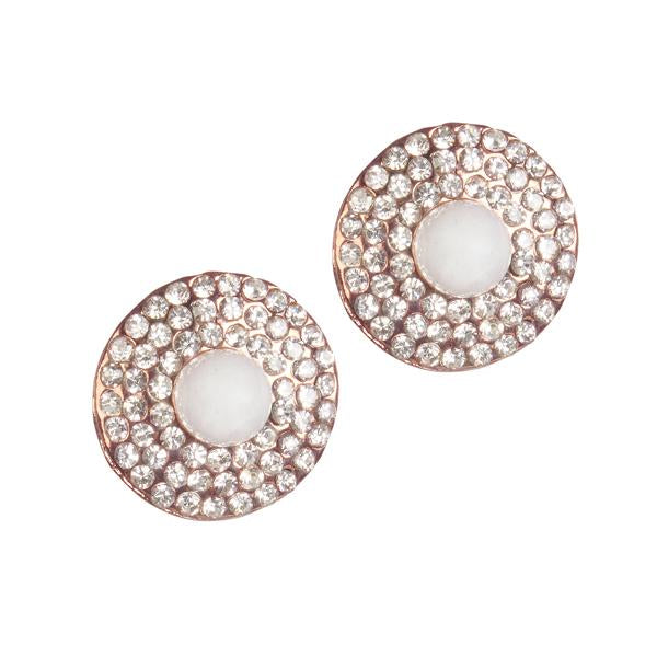 Urbana Pearl Austrian Stone Rose Gold Plated Stud Earrings - 1306821