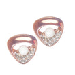 Urbana Glass Pearl Rose Gold Plated Stud Earrings - 1306826