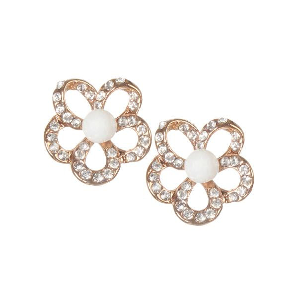 Urbana Pearl Austrian Stone Rose Gold Plated Stud Earrings - 1306833